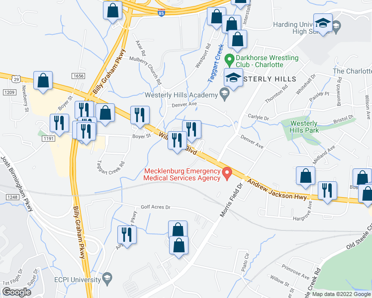 map of restaurants, bars, coffee shops, grocery stores, and more near 3020 Fairhaven Street in Charlotte