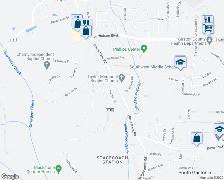 map of restaurants, bars, coffee shops, grocery stores, and more near 2614 Puritan St in Gastonia