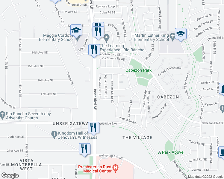 map of restaurants, bars, coffee shops, grocery stores, and more near Rancho Plata Ave in Rio Rancho