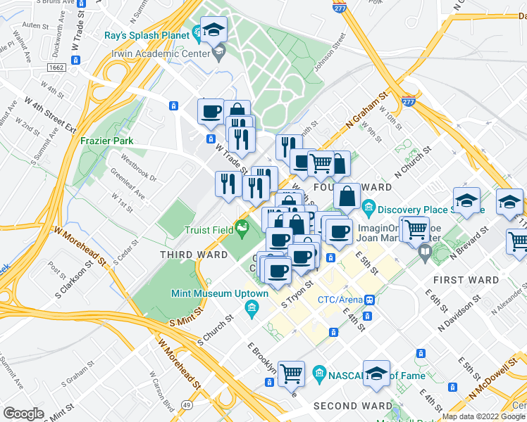 map of restaurants, bars, coffee shops, grocery stores, and more near 425 West Trade Street in Charlotte