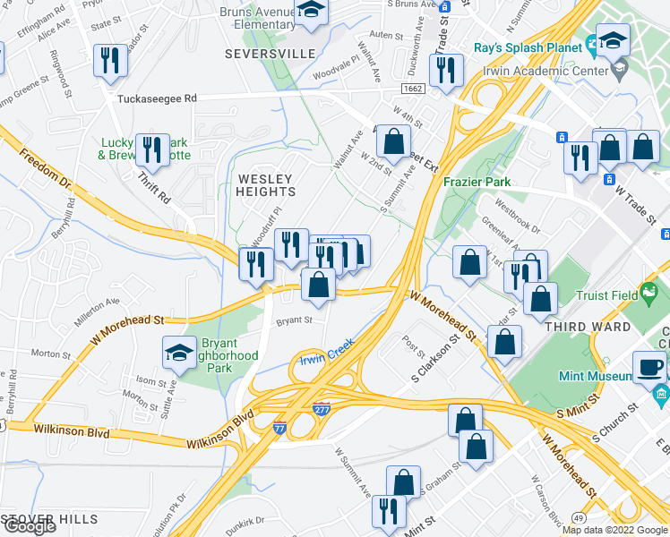 map of restaurants, bars, coffee shops, grocery stores, and more near 708 South Summit Avenue in Charlotte