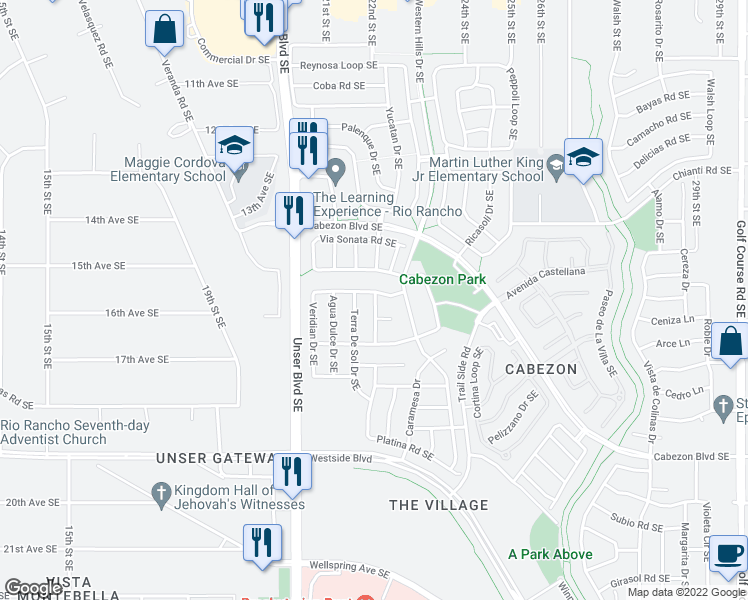 map of restaurants, bars, coffee shops, grocery stores, and more near Calle De Roja Dr in Rio Rancho