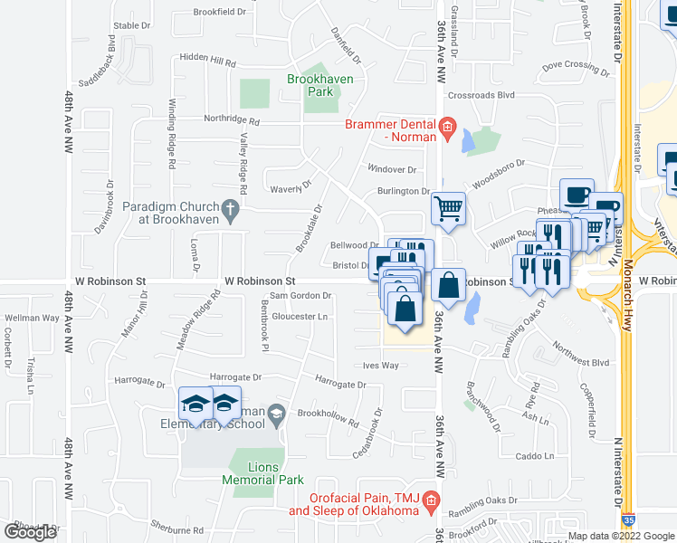 map of restaurants, bars, coffee shops, grocery stores, and more near 3848 Bristol Drive in Norman
