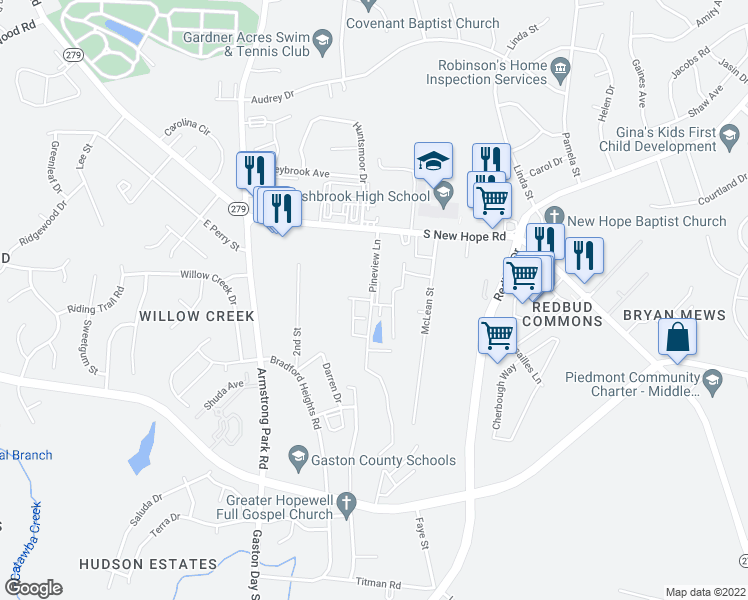 map of restaurants, bars, coffee shops, grocery stores, and more near 2295 Pineview Lane in Gastonia