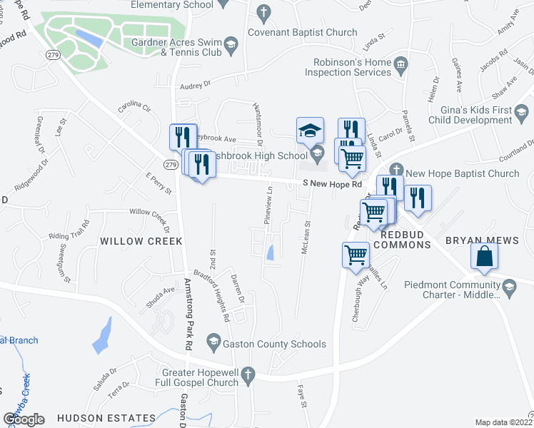 map of restaurants, bars, coffee shops, grocery stores, and more near 2213 Pineview Lane in Gastonia