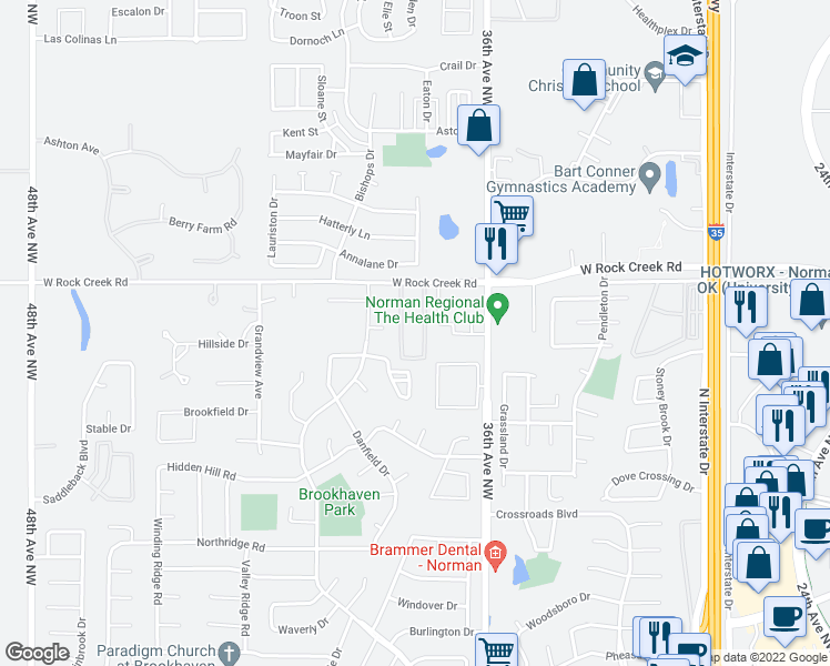 map of restaurants, bars, coffee shops, grocery stores, and more near 3730 West Rock Creek Road in Norman