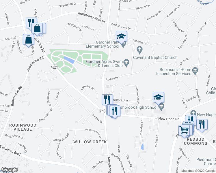 map of restaurants, bars, coffee shops, grocery stores, and more near Armstrong Park Road in Gastonia