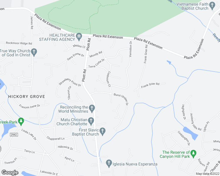 map of restaurants, bars, coffee shops, grocery stores, and more near 8527 Burnt Umber Drive in Charlotte