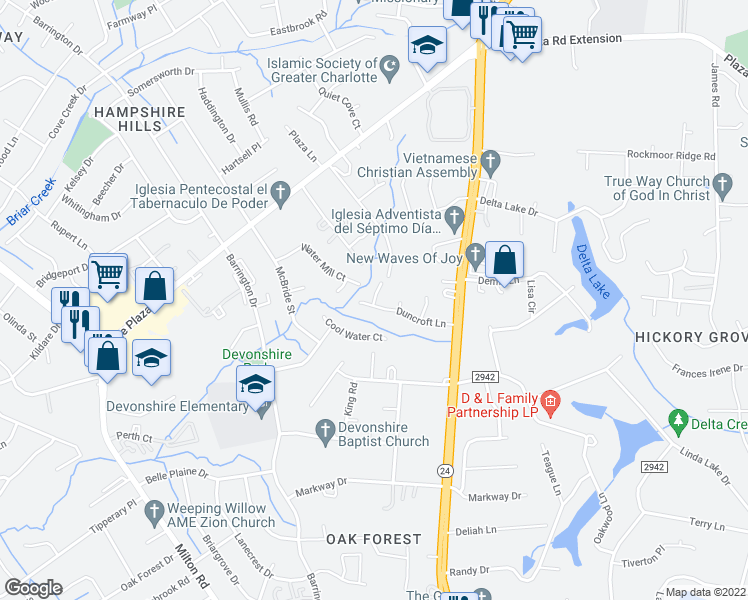 map of restaurants, bars, coffee shops, grocery stores, and more near 6723 Marston Court in Charlotte