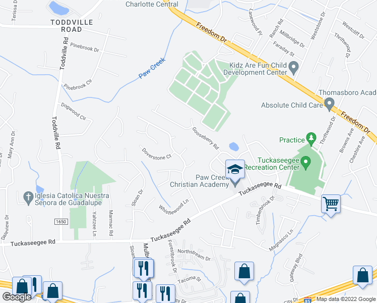 map of restaurants, bars, coffee shops, grocery stores, and more near 5300 Reedham Court in Charlotte