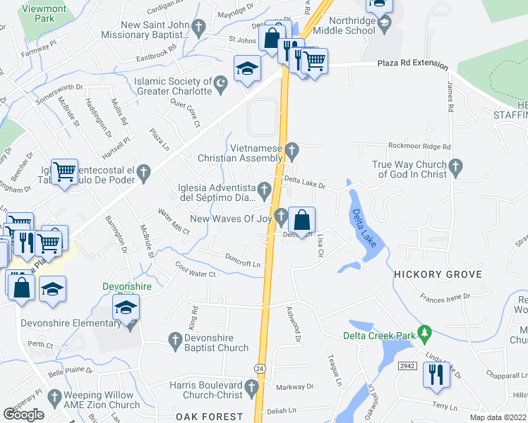 map of restaurants, bars, coffee shops, grocery stores, and more near 4620 East W.T. Harris Boulevard in Charlotte