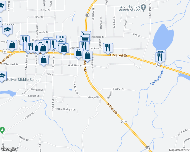 map of restaurants, bars, coffee shops, grocery stores, and more near 333 South Water Street in Bolivar