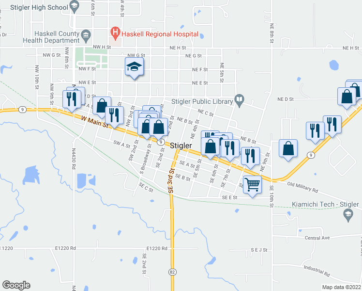 map of restaurants, bars, coffee shops, grocery stores, and more near in Stigler