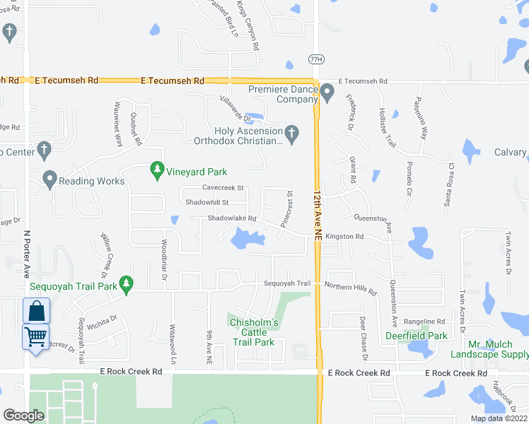 map of restaurants, bars, coffee shops, grocery stores, and more near 1024 Pinelake Ct in Norman