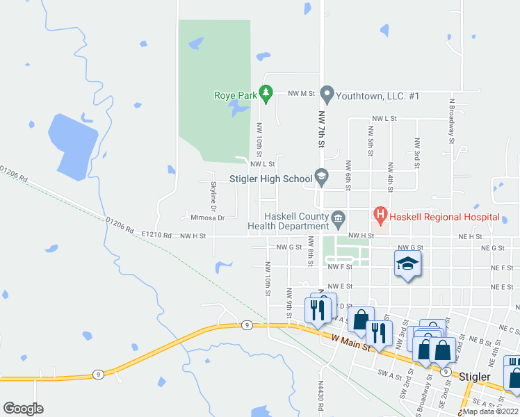 map of restaurants, bars, coffee shops, grocery stores, and more near Northwest 10th Street in Stigler