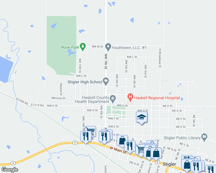 map of restaurants, bars, coffee shops, grocery stores, and more near Northwest J Street in Stigler