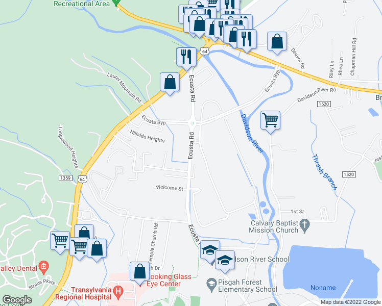 map of restaurants, bars, coffee shops, grocery stores, and more near 393 Ecusta Road in Brevard
