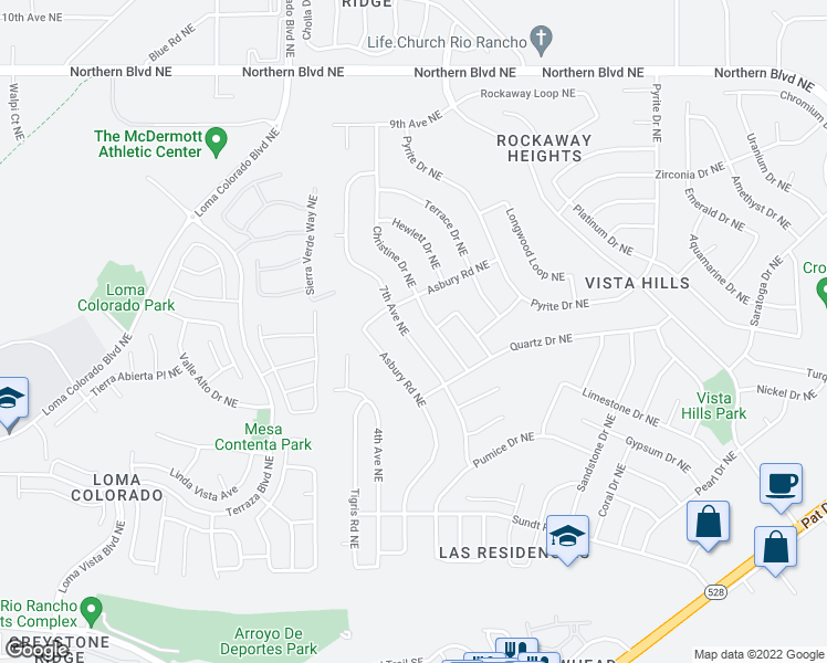 map of restaurants, bars, coffee shops, grocery stores, and more near 424-428 Christine Drive Northeast in Rio Rancho