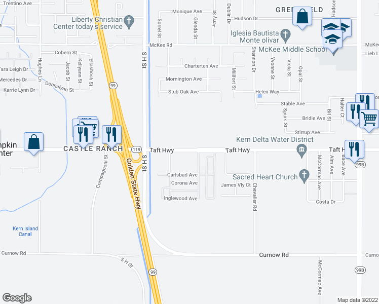 map of restaurants, bars, coffee shops, grocery stores, and more near 1225 Taft Highway in Bakersfield