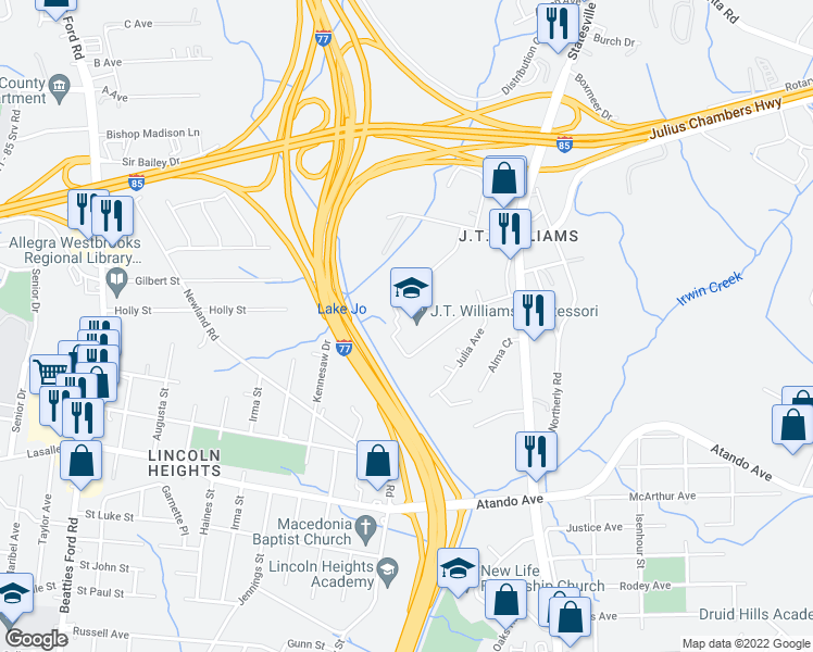 map of restaurants, bars, coffee shops, grocery stores, and more near Pryor Avenue in Charlotte