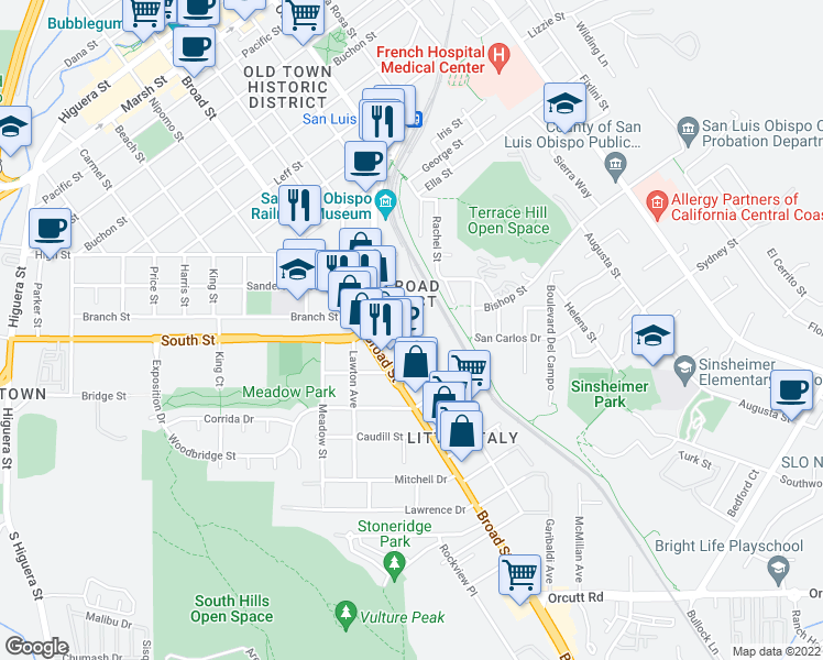 map of restaurants, bars, coffee shops, grocery stores, and more near 2220 Emily Street in San Luis Obispo