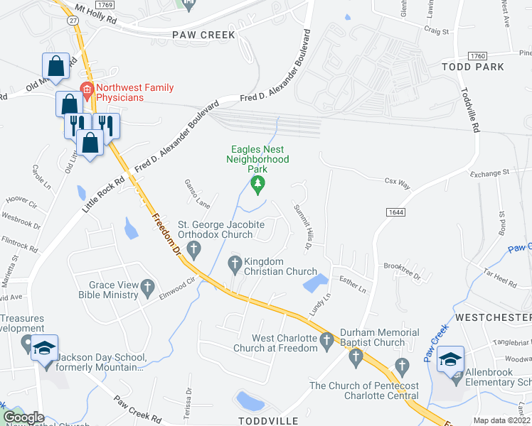 map of restaurants, bars, coffee shops, grocery stores, and more near 5727 Silver Eagle Drive in Charlotte