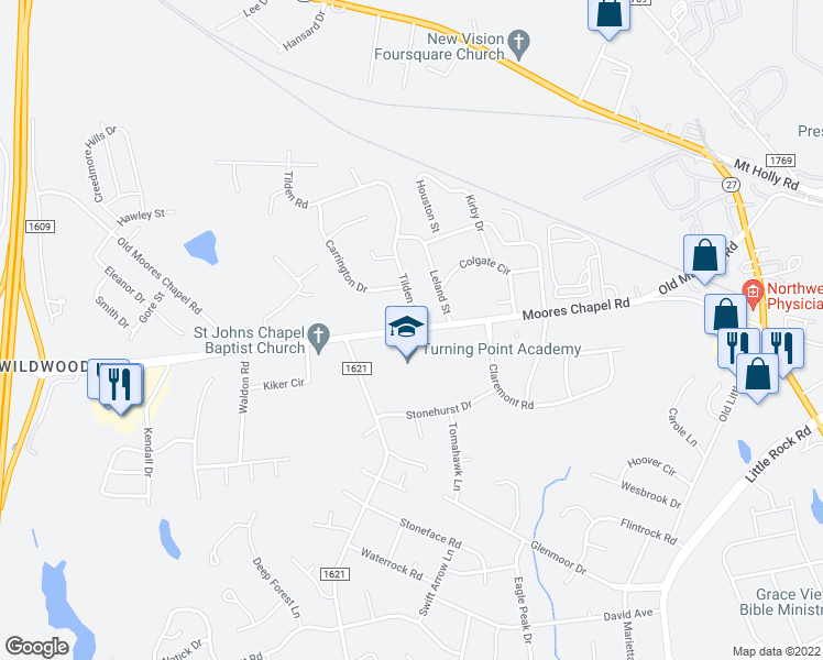 map of restaurants, bars, coffee shops, grocery stores, and more near 1040-1098 Tilden Road in Charlotte