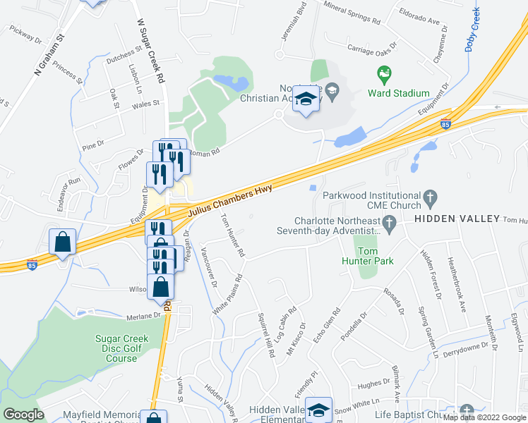 map of restaurants, bars, coffee shops, grocery stores, and more near 1841 Prospect Drive in Charlotte