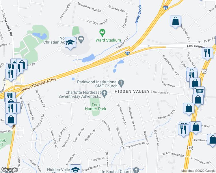 map of restaurants, bars, coffee shops, grocery stores, and more near 6727 Hidden Forest Drive in Charlotte
