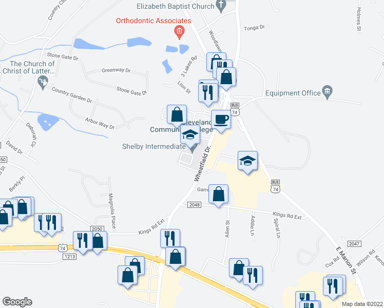 map of restaurants, bars, coffee shops, grocery stores, and more near 220 South Post Road in Shelby