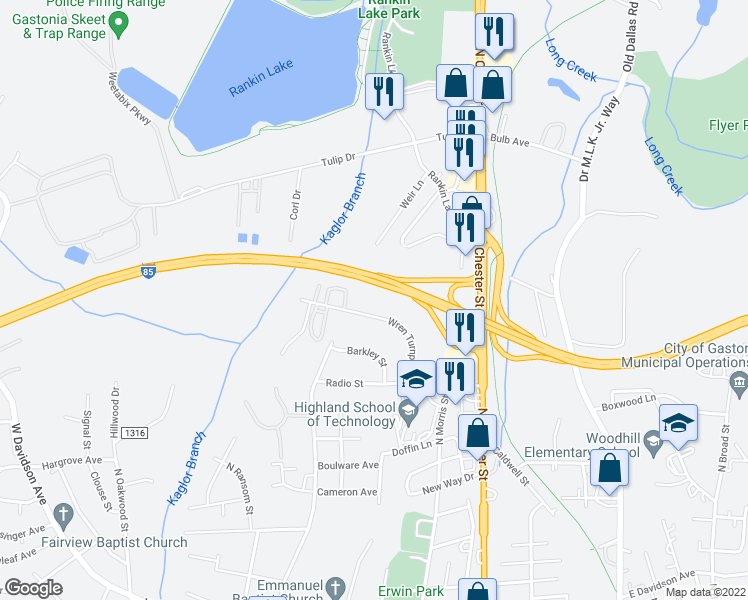 map of restaurants, bars, coffee shops, grocery stores, and more near 1830 Wren Turnpike in Gastonia