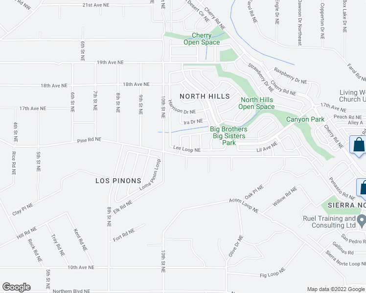 map of restaurants, bars, coffee shops, grocery stores, and more near 901 Charles Drive Northeast in Rio Rancho