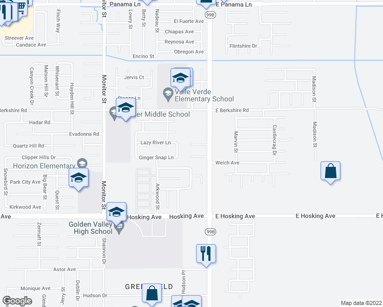 map of restaurants, bars, coffee shops, grocery stores, and more near 150 Bannock Street in Bakersfield