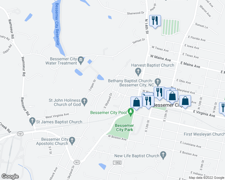 map of restaurants, bars, coffee shops, grocery stores, and more near West Virginia Avenue in Bessemer City