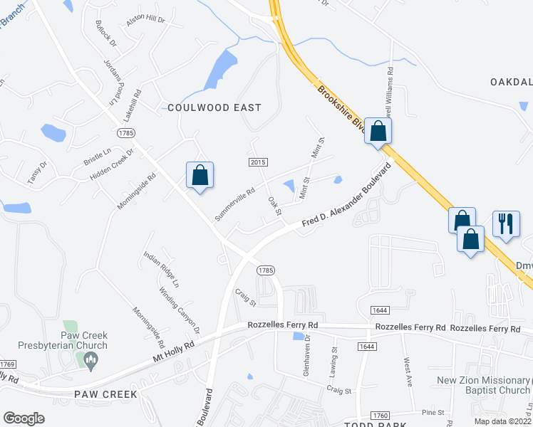 map of restaurants, bars, coffee shops, grocery stores, and more near 512 Ethel Court in Charlotte