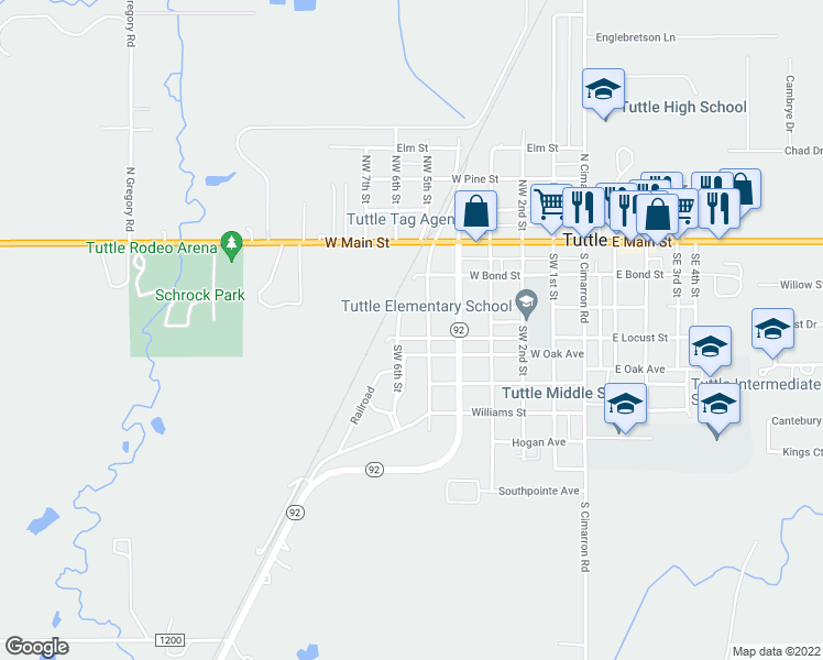 map of restaurants, bars, coffee shops, grocery stores, and more near 205 Southwest 5th Street in Tuttle