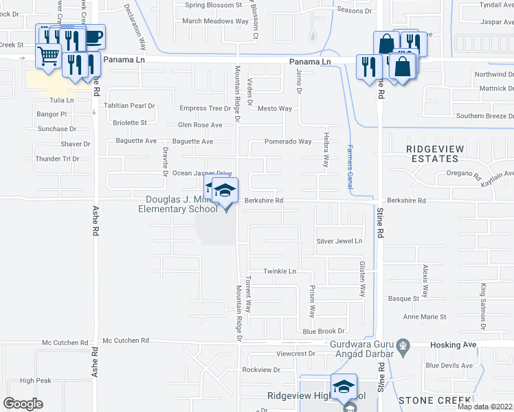 map of restaurants, bars, coffee shops, grocery stores, and more near 5522 Crystal Cascade Lane in Bakersfield