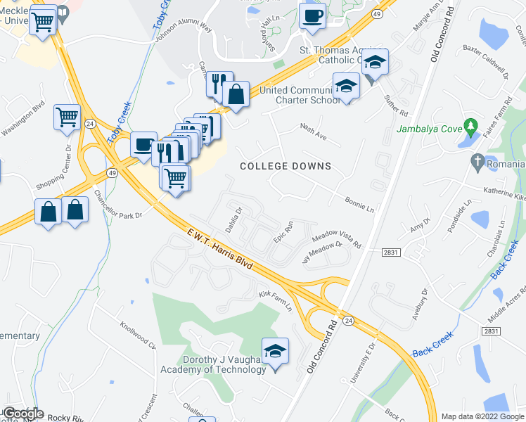 map of restaurants, bars, coffee shops, grocery stores, and more near Meadow Vista Road in Charlotte