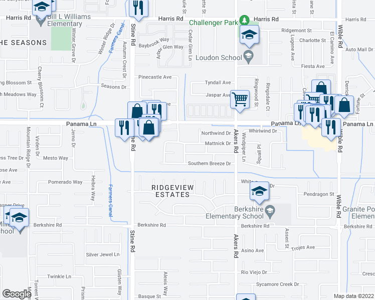 map of restaurants, bars, coffee shops, grocery stores, and more near 4412 Cyclone Drive in Bakersfield
