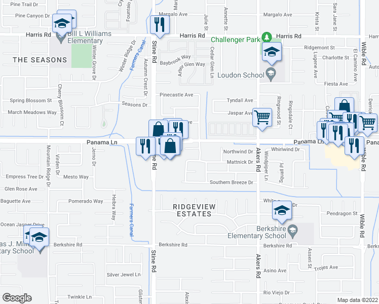 map of restaurants, bars, coffee shops, grocery stores, and more near 4605 Cascade Falls Court in Bakersfield