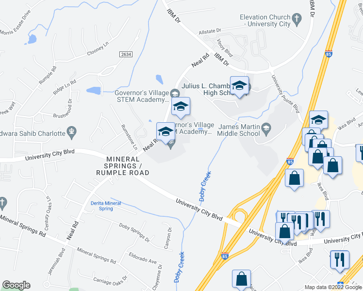 map of restaurants, bars, coffee shops, grocery stores, and more near 7810 Neal Road in Charlotte