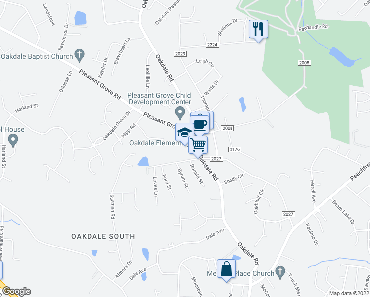 map of restaurants, bars, coffee shops, grocery stores, and more near 5905 Pleasant Grove Road in Charlotte