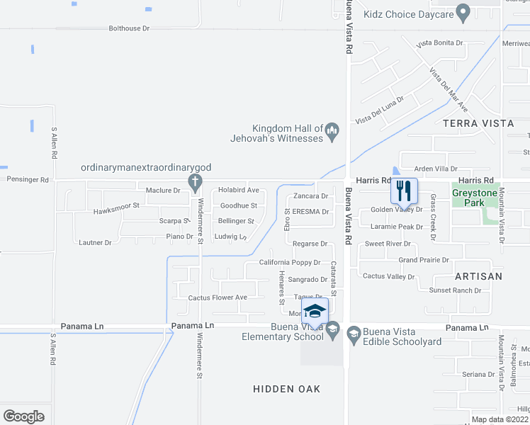 map of restaurants, bars, coffee shops, grocery stores, and more near 5808 Calatrava Drive in Bakersfield