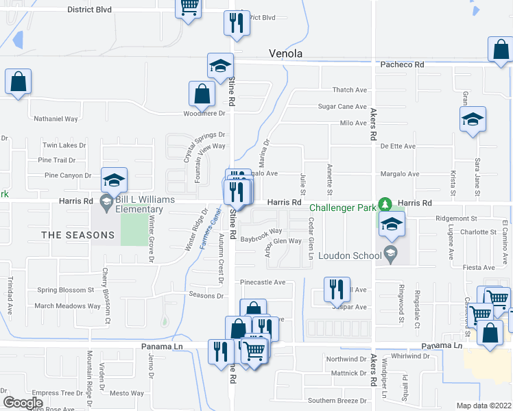 map of restaurants, bars, coffee shops, grocery stores, and more near 4712 Country Wood Lane in Bakersfield