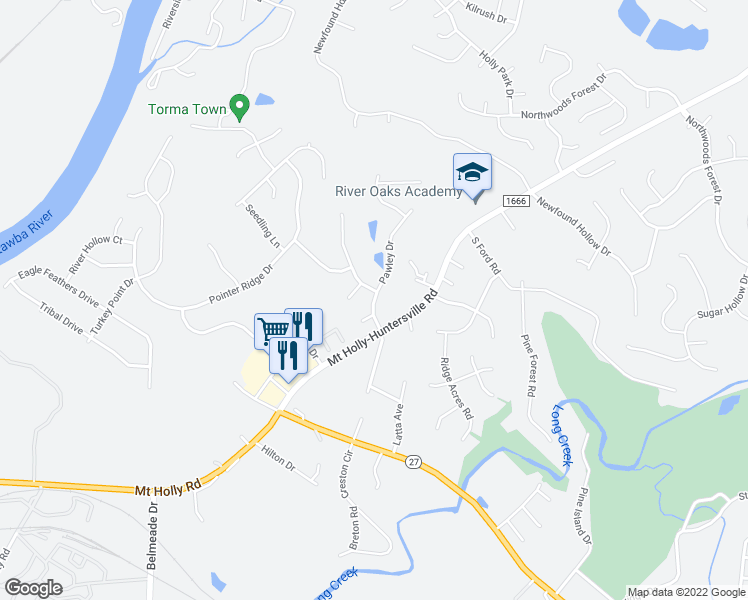 map of restaurants, bars, coffee shops, grocery stores, and more near Pawley Dr in Charlotte