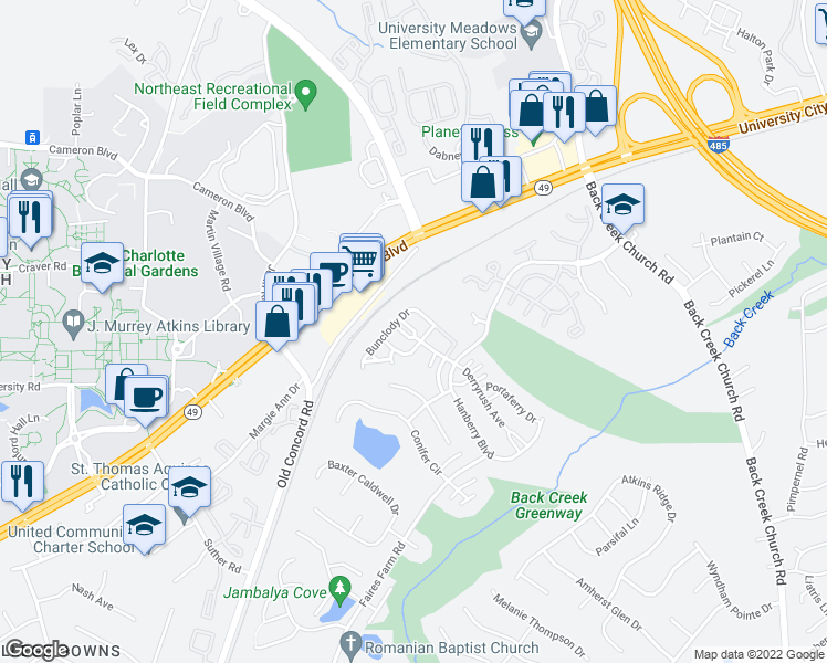 map of restaurants, bars, coffee shops, grocery stores, and more near 1337 Killashee Court in Charlotte