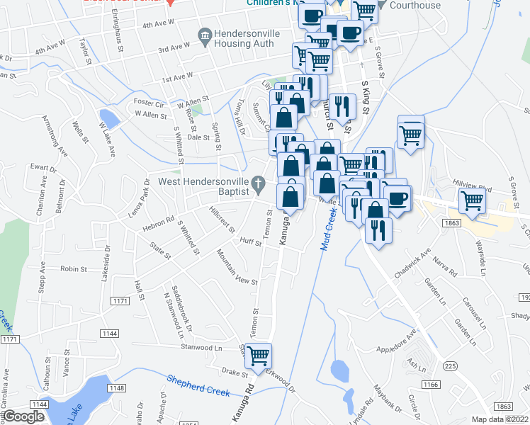 map of restaurants, bars, coffee shops, grocery stores, and more near 807 Temon Street in Hendersonville