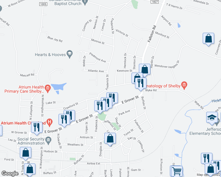 map of restaurants, bars, coffee shops, grocery stores, and more near 734 Vale Street in Shelby