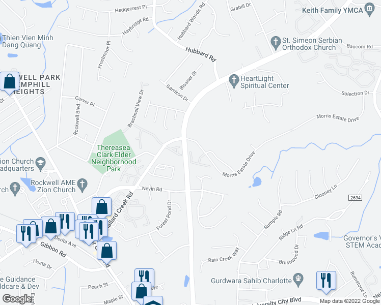 map of restaurants, bars, coffee shops, grocery stores, and more near 6600-6670 Morris Estate Drive in Charlotte