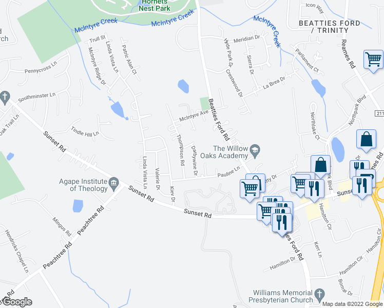 map of restaurants, bars, coffee shops, grocery stores, and more near 4024 Fifendrum Lane in Charlotte